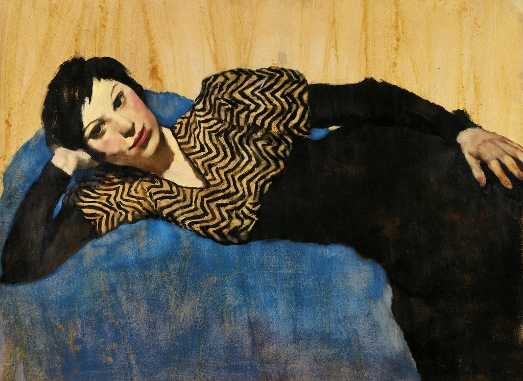Lotte Laserstein, Liegendes Mädchen aud Blau, Ausschnitt, um 1931, Privatbesitz Berlin, Courtesy Das Verborgene Museum, Berlin, Foto: Das Verborgene Museum, Berlin,